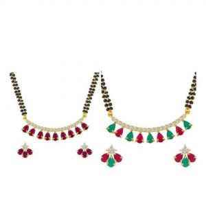 combo of Traditional red and green mangalsutra with 18 inch mangalsutra chain