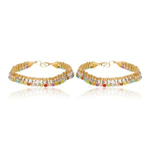 Multicolour Gold Plated Kundan Anklets