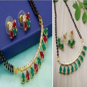 Combo of green and red and green mangalsutra set for women