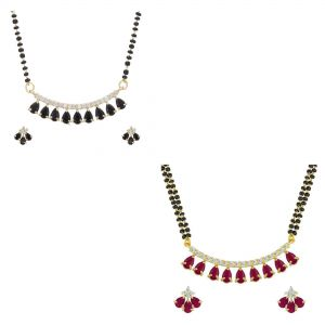Combo of red and black stone traditional mangalsutra set