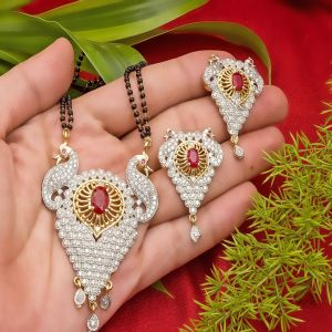 Big Size Party Wear Peacock Mangalsutra Set
