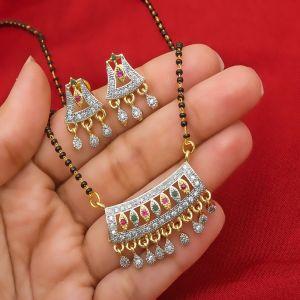 Traditional American Diamond Manglsutra Set