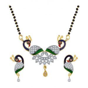 Multicolour peacock design mangalsutra set for women with 18 inches length chain