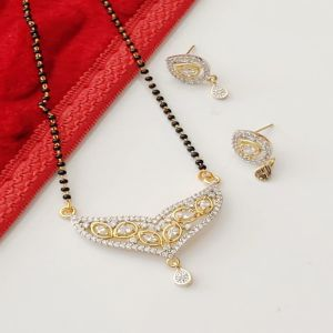 American Diamond Mangalsutra Set For Ethnic Dresses