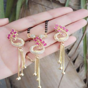 Party Wear Peacock Mangalsutra Set With Long Earrings