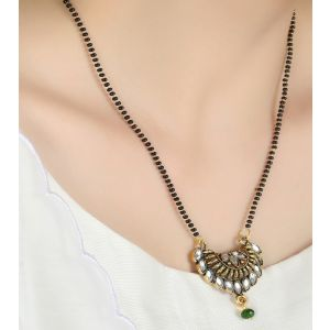 Traditional antique gold plated daily wear mangalsutra with 18 inches length chain