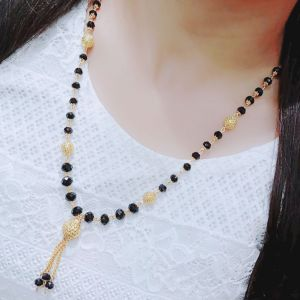 Darshini Designs long mangalsutra for women with black beaded and gold plated chain