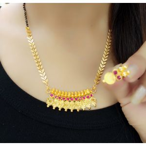 Traditional Gold Plated Laxmi coin mangalsutra set  for women