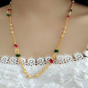 Alloy Multi Color Long Haram Traditional Gold Plated Necklace