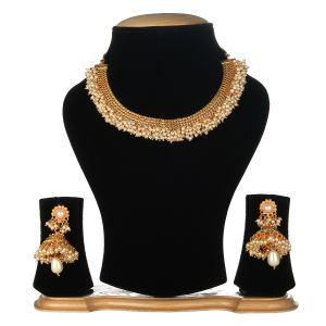 Alloy Golden Choker Traditional Gold Plated Necklaces Set for women